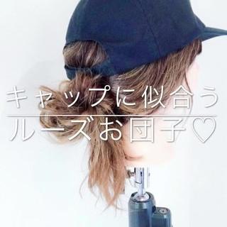 お団子 デート セミロング ヘアアレンジ ヘアスタイルや髪型の写真・画像