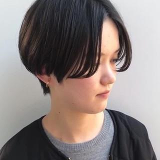 ショート ハンサムショート 黒髪 ショートボブ ヘアスタイルや髪型の写真・画像