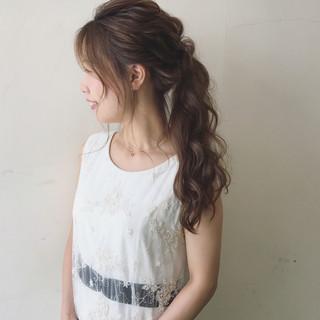 色気 夏 ウェーブ ヘアアレンジ ヘアスタイルや髪型の写真・画像
