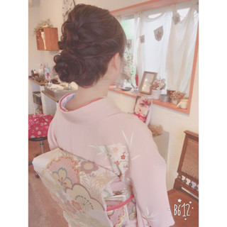 結婚式 ヘアアレンジ ミディアム レッド ヘアスタイルや髪型の写真・画像