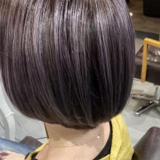 ラベンダーグレージュ 透明感カラー ボブ ラベンダーグレー ヘアスタイルや髪型の写真・画像