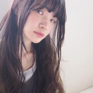 ロング 暗髪 アッシュ 大人かわいい ヘアスタイルや髪型の写真・画像