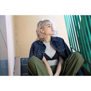 アッシュ 色気 ボブ リラックス ヘアスタイルや髪型の写真・画像