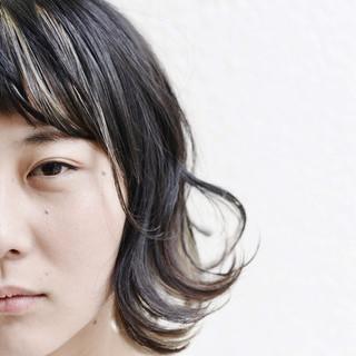 グラデーションカラー ミディアム 黒髪 インナーカラー ヘアスタイルや髪型の写真・画像
