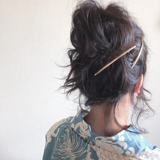 デート ミディアム アウトドア 浴衣アレンジ ヘアスタイルや髪型の写真・画像