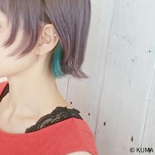 インナーカラー 透明感 ショート アッシュ ヘアスタイルや髪型の写真・画像