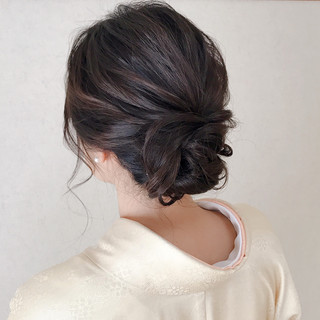 訪問着 上品 和装 セミロング ヘアスタイルや髪型の写真・画像