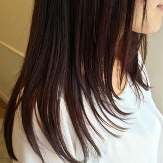 ストレート グラデーションカラー セミロング 縮毛矯正 ヘアスタイルや髪型の写真・画像