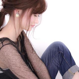 ショート 大人かわいい ローポニーテール 簡単ヘアアレンジ ヘアスタイルや髪型の写真・画像