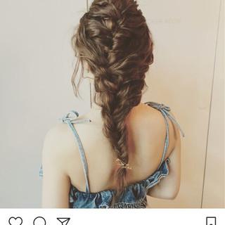 波ウェーブ 編み込み 結婚式 ロング ヘアスタイルや髪型の写真・画像