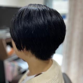 ミニボブ 切りっぱなしボブ モード ショートヘア ヘアスタイルや髪型の写真・画像
