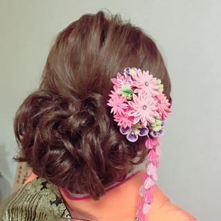 成人式 アップスタイル ヘアアレンジ セミロング ヘアスタイルや髪型の写真・画像