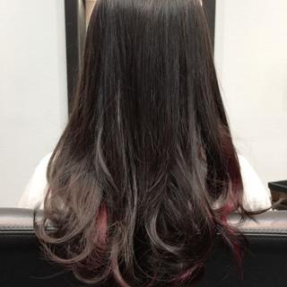 モード インナーカラー セミロング 暗髪 ヘアスタイルや髪型の写真・画像