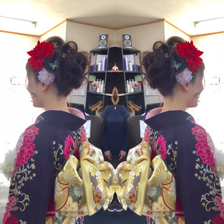 かわいい ヘアアレンジ 成人式 セミロング ヘアスタイルや髪型の写真・画像