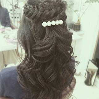 暗髪 大人かわいい 結婚式 ハーフアップ ヘアスタイルや髪型の写真・画像