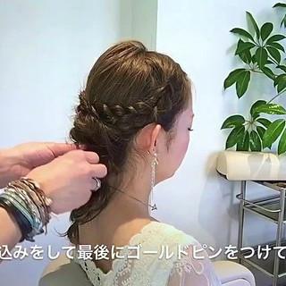 フェミニン 編み込み セミロング 結婚式 ヘアスタイルや髪型の写真・画像