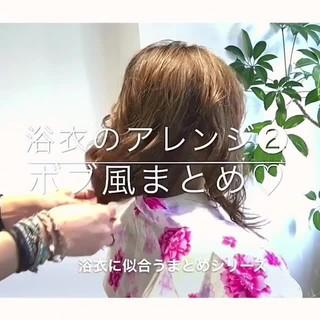 デート 花火大会 簡単ヘアアレンジ セミロング ヘアスタイルや髪型の写真・画像
