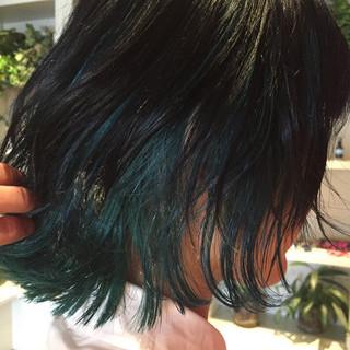 モード アッシュ ボブ インナーカラー ヘアスタイルや髪型の写真・画像