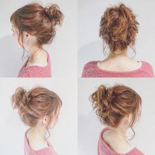 簡単ヘアアレンジ ショート ガーリー ミディアム ヘアスタイルや髪型の写真・画像