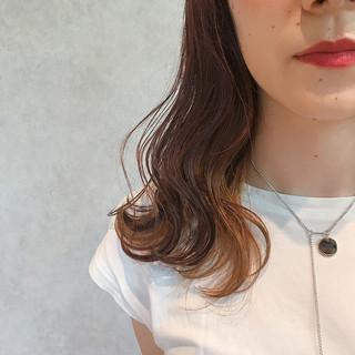 女子力 セミロング ヘアアレンジ ハイライト ヘアスタイルや髪型の写真・画像