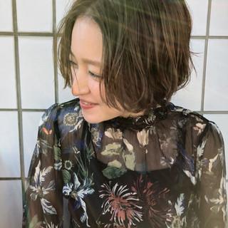ナチュラル 透明感 ショート ハイライト ヘアスタイルや髪型の写真・画像