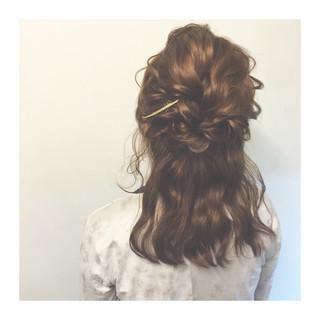 編み込み ハーフアップ 暗髪 ショート ヘアスタイルや髪型の写真・画像
