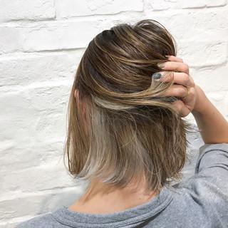 ナチュラル ボブ インナーカラー ショートボブ ヘアスタイルや髪型の写真・画像