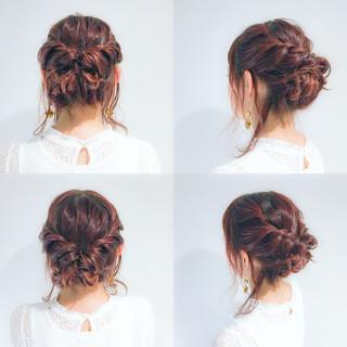 くるりんぱ ミディアム 編み込み まとめ髪 ヘアスタイルや髪型の写真・画像