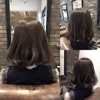外国人風 暗髪 アッシュ ボブ ヘアスタイルや髪型の写真・画像