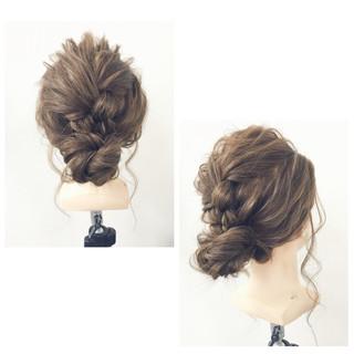 簡単ヘアアレンジ 三つ編み シニヨン ヘアアレンジ ヘアスタイルや髪型の写真・画像