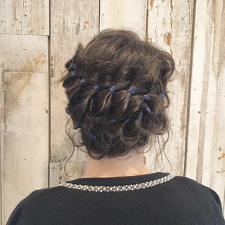 ショート 前髪あり ガーリー ヘアアレンジ ヘアスタイルや髪型の写真・画像