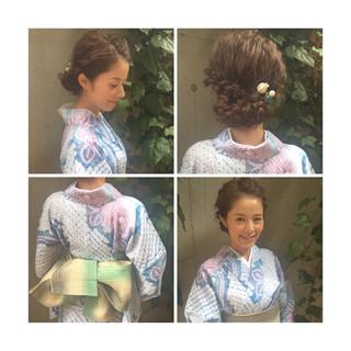 花火大会 ヘアアレンジ 夏 ショート ヘアスタイルや髪型の写真・画像