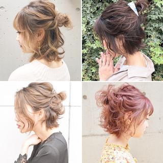 簡単ヘアアレンジ ボブ ナチュラル アンニュイほつれヘア ヘアスタイルや髪型の写真・画像