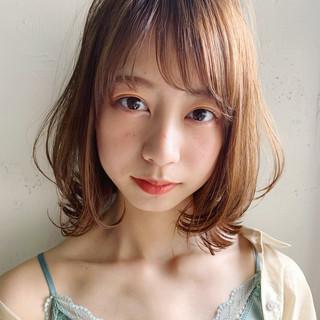 大人かわいい ミディアム シースルーバング ひし形シルエット ヘアスタイルや髪型の写真・画像