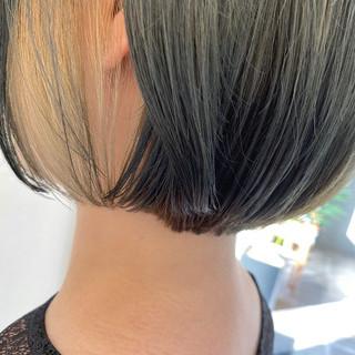 ボブ ミニボブ インナーカラー ショートヘア ヘアスタイルや髪型の写真・画像