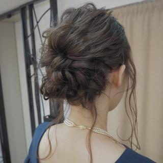 女子会 ボブ 編み込み 結婚式 ヘアスタイルや髪型の写真・画像