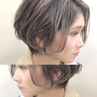 ナチュラル ハンサムショート デート ハイライト ヘアスタイルや髪型の写真・画像