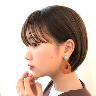透明感カラー ショート 大人かわいい ショートボブ ヘアスタイルや髪型の写真・画像