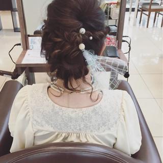 編み込み 結婚式 ボブ ヘアアレンジ ヘアスタイルや髪型の写真・画像