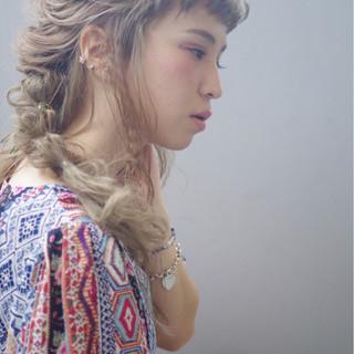 編み込み ロング ヘアアレンジ ギブソンタック ヘアスタイルや髪型の写真・画像