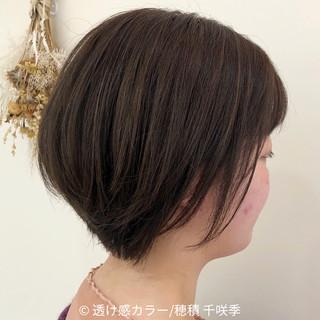 ブラウンベージュ ショートボブ ハイライト ショートヘア ヘアスタイルや髪型の写真・画像