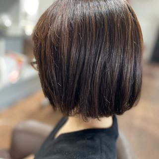 ボブ 切りっぱなしボブ デジタルパーマ ショートヘア ヘアスタイルや髪型の写真・画像