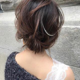 ミディアム 結婚式 デート ナチュラル ヘアスタイルや髪型の写真・画像