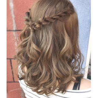 外国人風 結婚式 ヘアアレンジ ハーフアップ ヘアスタイルや髪型の写真・画像