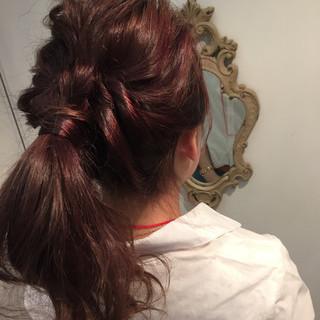 ロング 夏 簡単ヘアアレンジ ゆるふわ ヘアスタイルや髪型の写真・画像