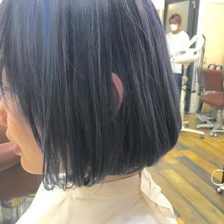 ダブルカラー 暗髪 ボブ アッシュ ヘアスタイルや髪型の写真・画像