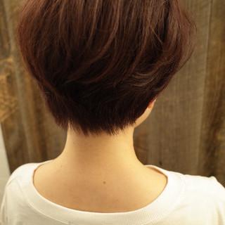 ショートボブ ショート ナチュラル 小顔ショート ヘアスタイルや髪型の写真・画像