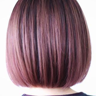 ラベンダーカラー ピンクラベンダー ピンクバイオレット ボブ ヘアスタイルや髪型の写真・画像