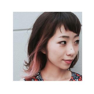 ピンク ミディアム ロブ ボブ ヘアスタイルや髪型の写真・画像