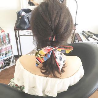 フェミニン まとめ髪 ヘアアレンジ ミディアム ヘアスタイルや髪型の写真・画像